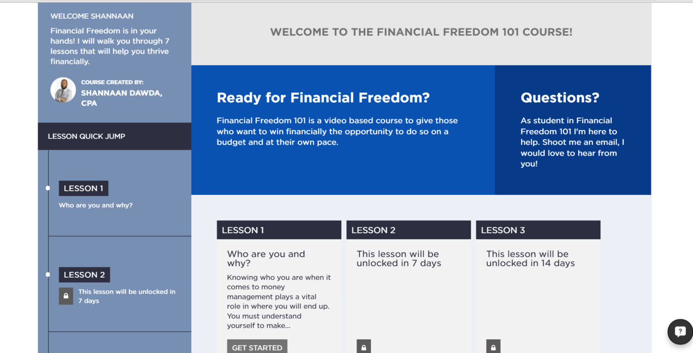 Financial Freedom 101 course: Shannaan Dawda