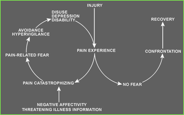 Vlaeyen's excellent representation of two trajectories shaped by the presence or absence of fear. We play an important role in setting the right trajectory.