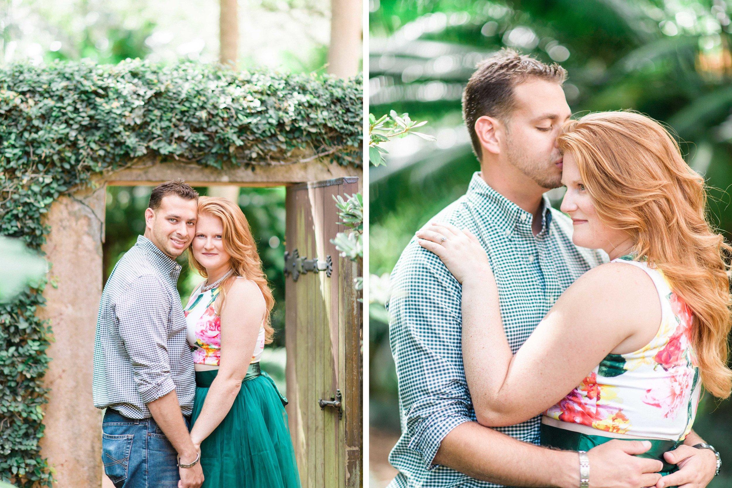 Couples Portrait Engagement Shoot in Garden with Ivy Doorway