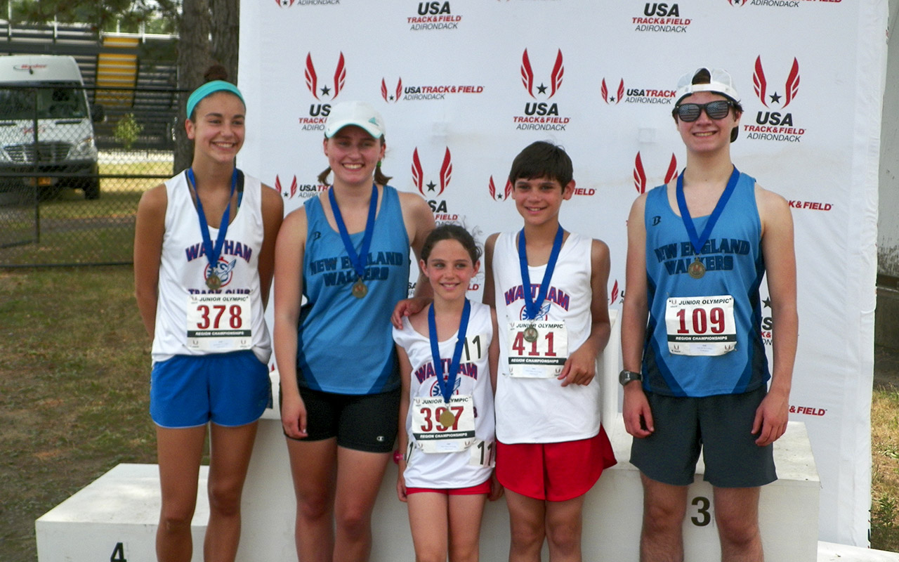 Waltham TC race walkers - and club alumni - earned 5 gold medals at the USATF Region I meet in their events.