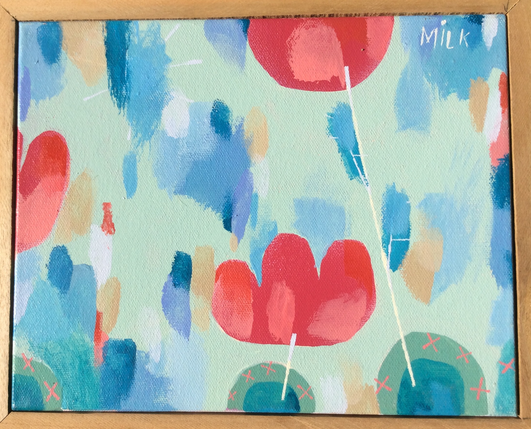 SOLD Small flowers. $80. 11 w. x 9 h. paint on canvas with wooden frame