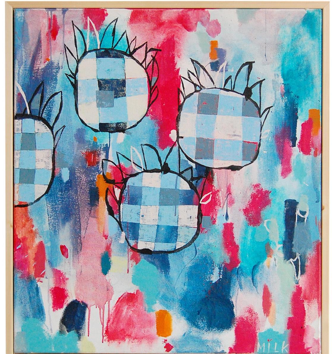 Indian Blanket Flowers, III, acrylic on canvas, 32x32