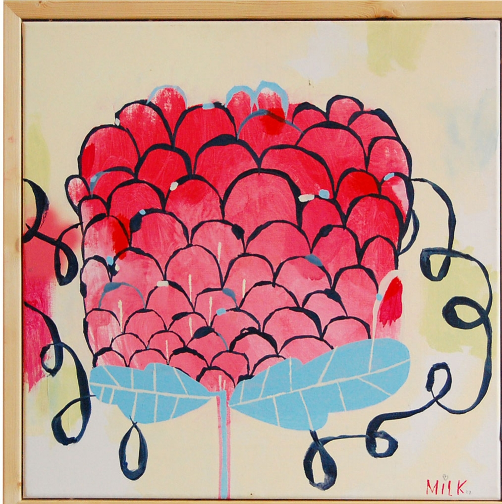Rasberry Flower, acrylic on canvas, 24x24