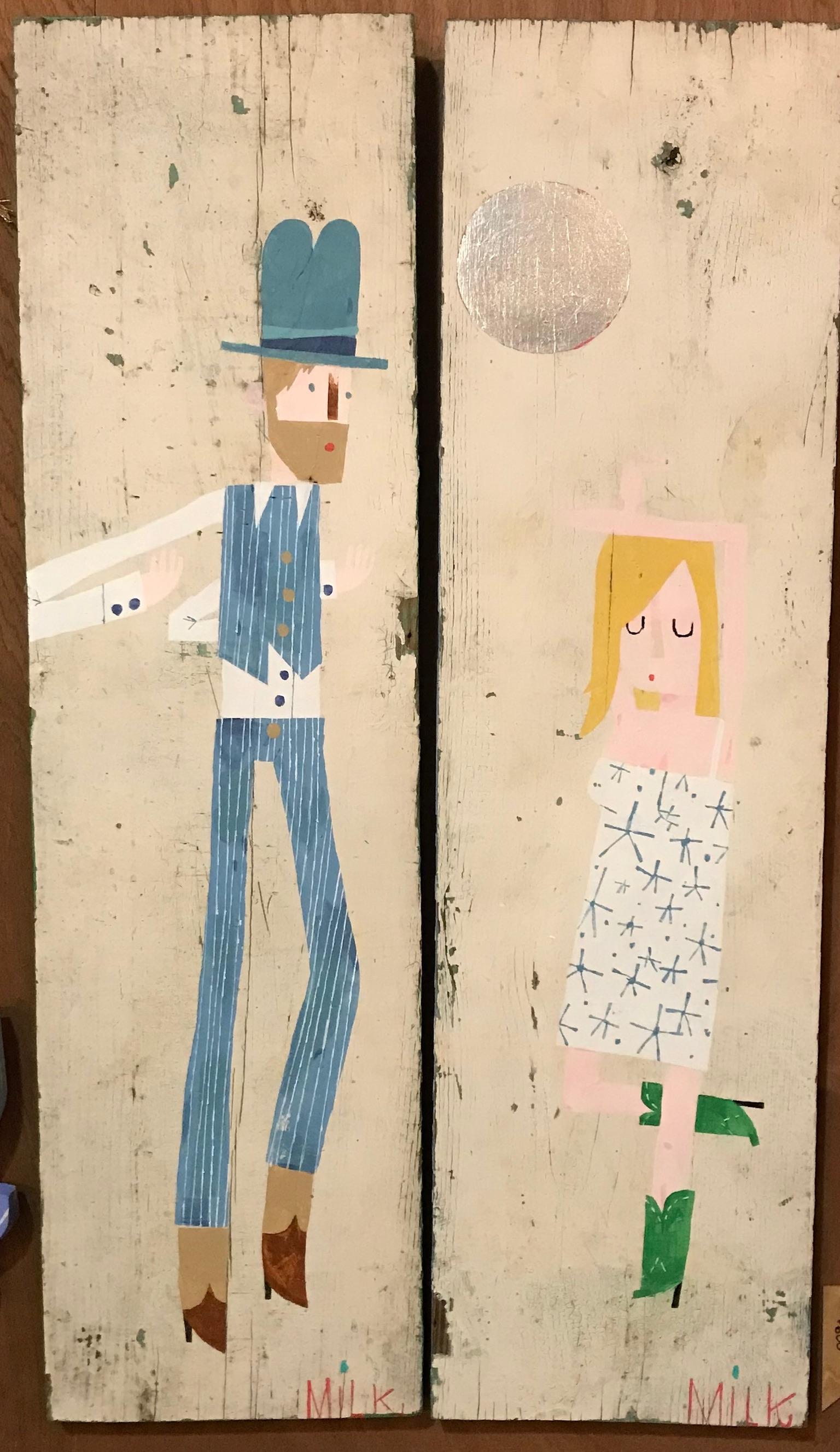 Disco, acrylic on found wood, each panel 11x27