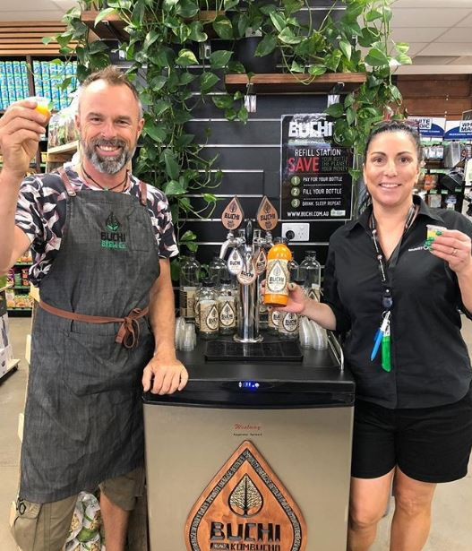 Our Rocklea Manager, Lu Shanley pictured with Buchi Creator, Jason following the launch of our in-store refill station!
