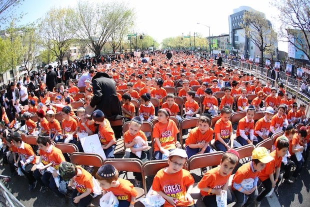 Young Yeshiva students participating in The Great Parade.