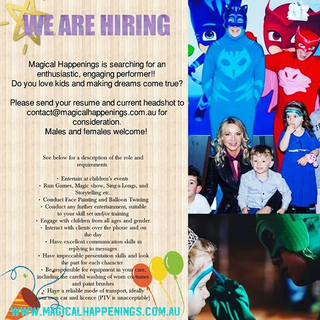WE ARE HIRING #magicalhappenings #kidsparties #birthdays #greatfun #jointheteam #entertain