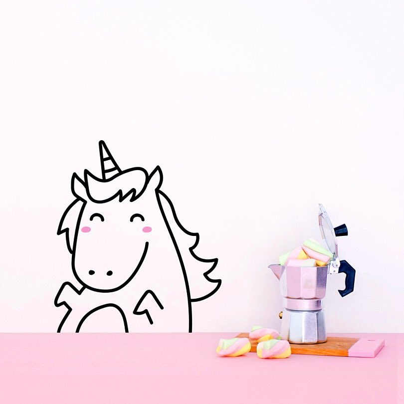 Lola the unicorn wall tattoo will be going into my baby room Pinterest board 👶� because all babies deserve something magical. Thanks for creating these @made_of_sundays 🦄