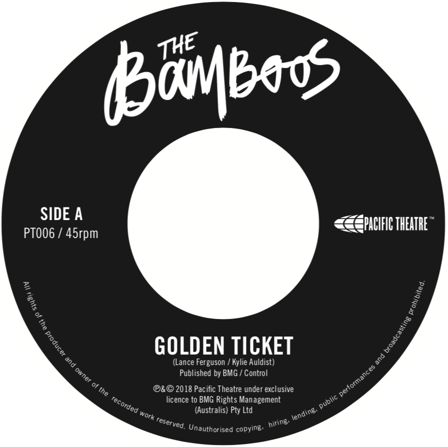 """129. the bamboos - 'golden ticket'/'work to do (live at cherry bar)'  7"""" single (pacific theatre/bmg) AUS 2018"""