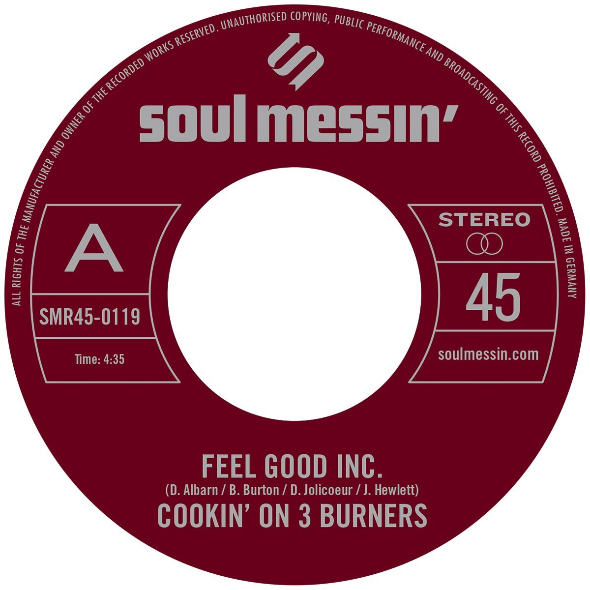 "141. cookin' on 3 burners - 'feel good inc.'/'cars'  7"" single (soul messin') AUS 2019"