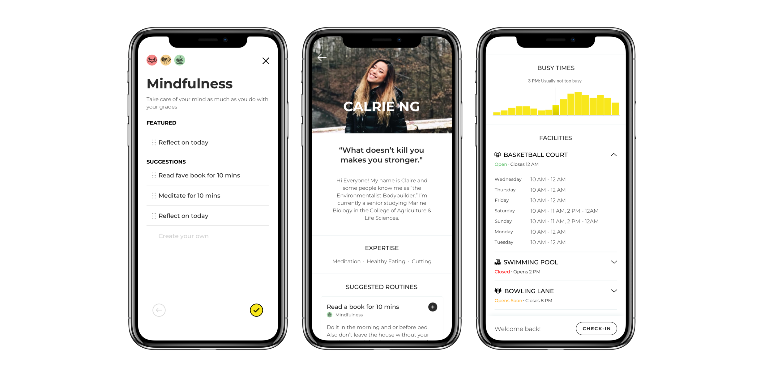 CU AppdevSPRING 2019 - designed 3 features for Uplift, a fitness & well-being app, that helps students form habits, learn from pros, and stay up to date with gym facility availability