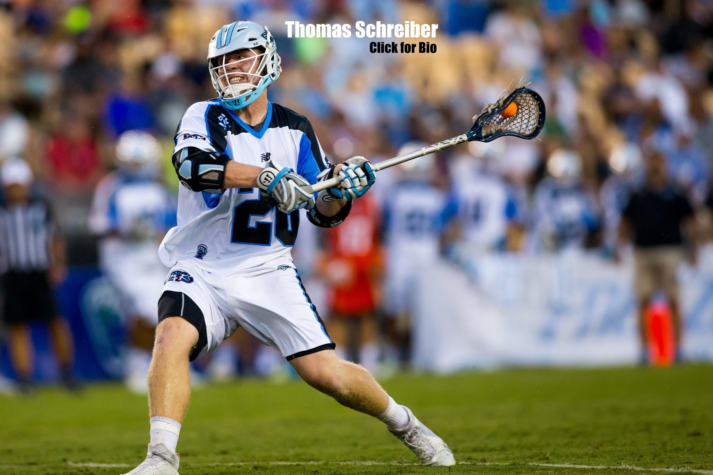 Thomas Schreiber  2016 Major League Lacrosse MVP  1st overall Draft Pick in MLL to the Ohio Machine  3-Time Finalist for the Tewaaraton Trophy (Division 1 Player of the Year)  2-Time Winner of Danald McLaughlin Award, given to Nation's top Midfielder  2 Time Capitan, 4 Time first team All-Ivy League  First Team All-American, 2014, 2013, and 2012 (3rd team 2011)  All-Time Points Leader (most goals & assist) for midfielders in Princeton history