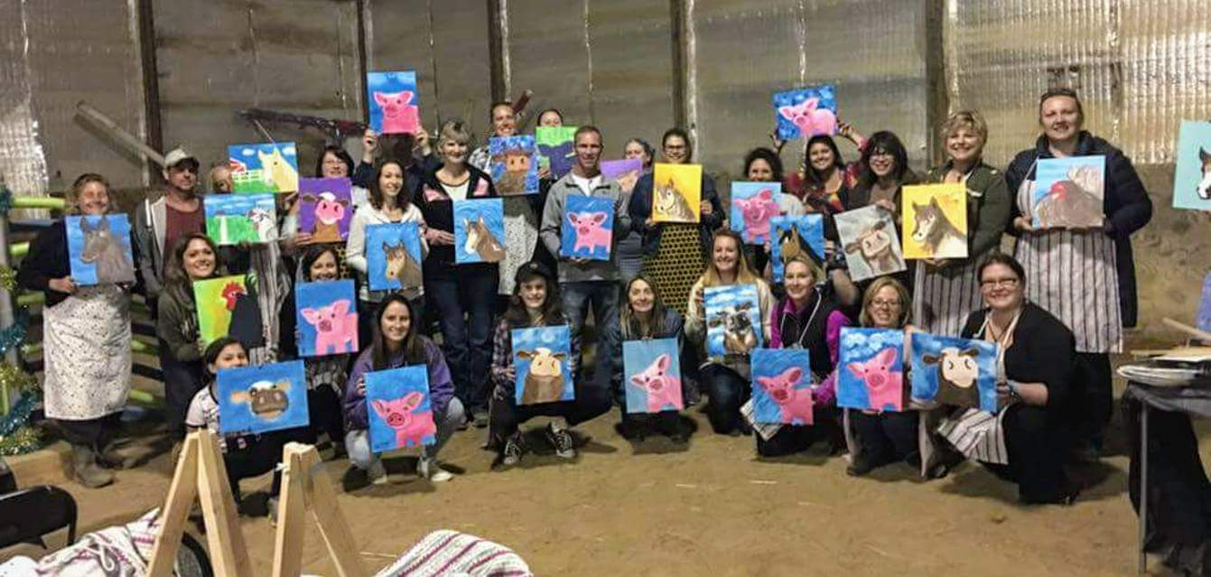 We had a super time at our first ever Wine and Paint night at the farm! Our artist walked us through painting one of our four farm animals, and as you can see, these are inspired creations!