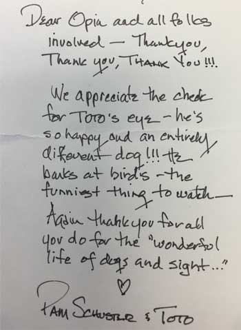 "Dear OPIN and all folks involved -  Thank you, Thank you, Thank you !!! We appreciate the check for Toto's eye - he's so happy and an entirely different dog!!! He barks at birds - the funniest thing to watch. Again thank you for all you do for the ""wonderful life of dogs and sight"" X Pam Schuster & Toto"
