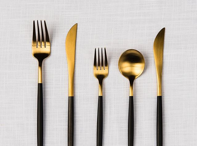 | At the table with The Supper Club |⠀⠀⠀⠀⠀⠀⠀⠀⠀ ⠀⠀⠀⠀⠀⠀⠀⠀⠀ Then to finish, our two - tone Black + Gold Cutlery! Available individually or as a 5 piece set.