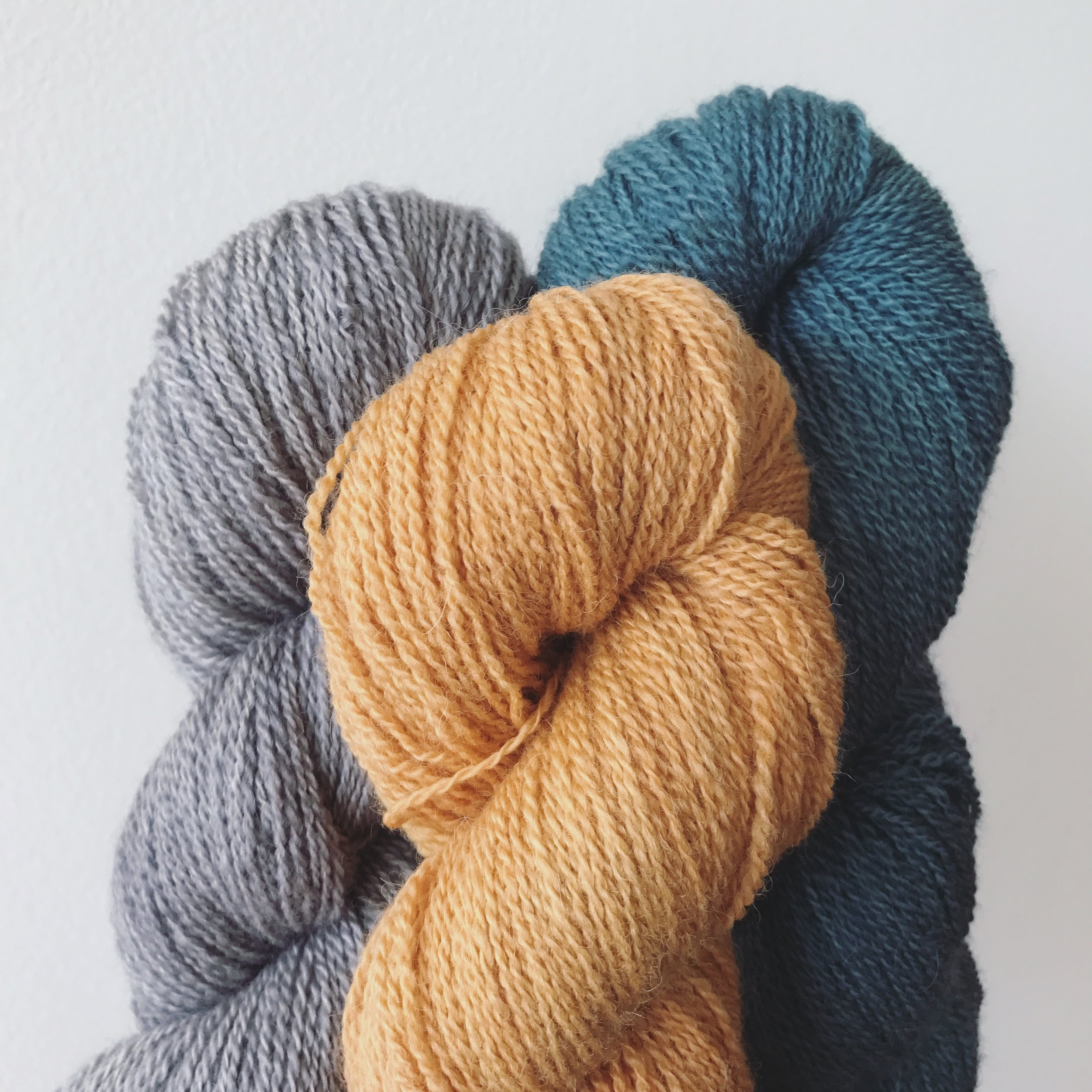 Why Knot, Smitten, Silver, Ripple, & Coreopsis Image © Firefly Fiber Arts Studio