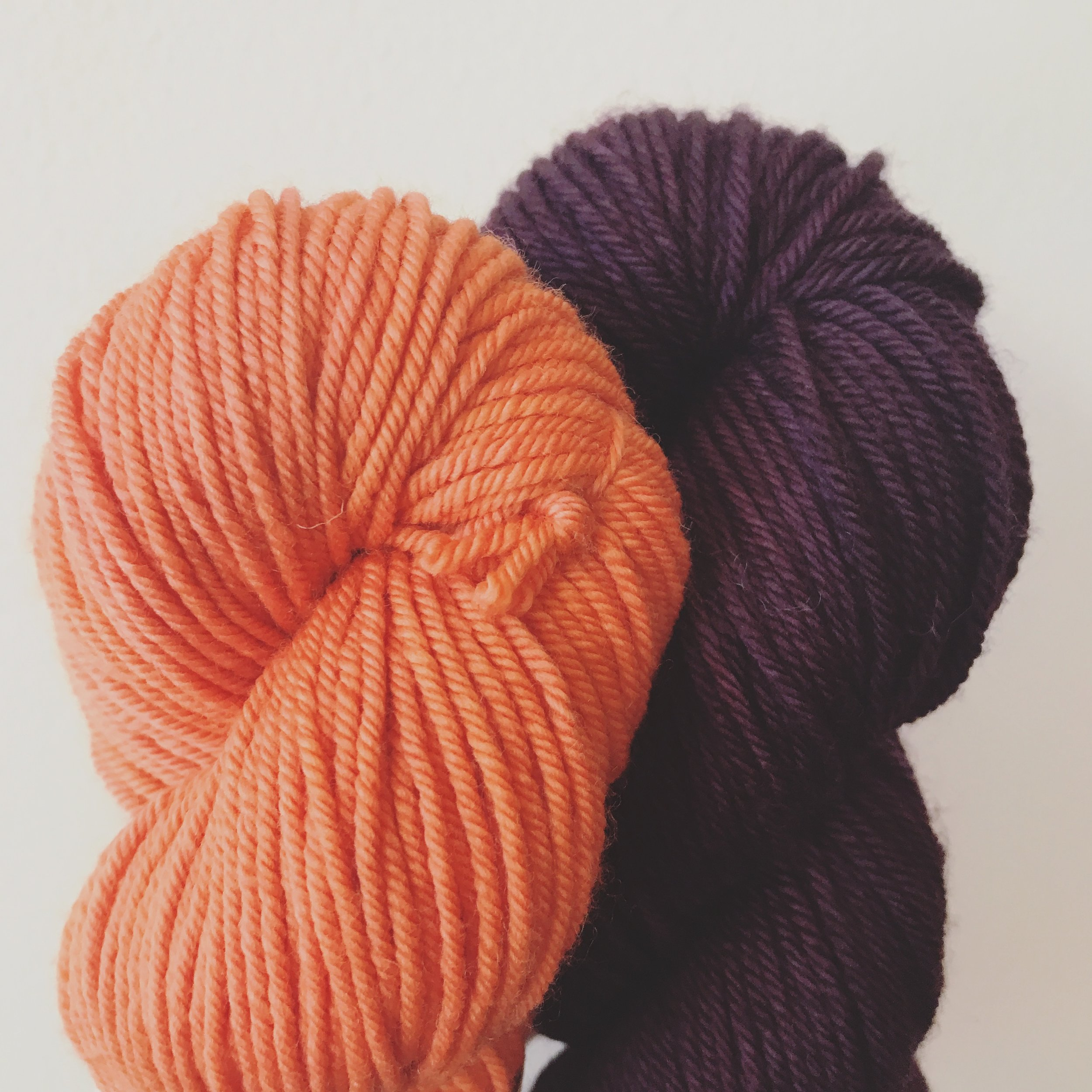 Mrs. Crosby, Steamer Trunk, Spicy Habanero Why Knot, Steady, Plum Image © Firefly Fiber Arts Studio