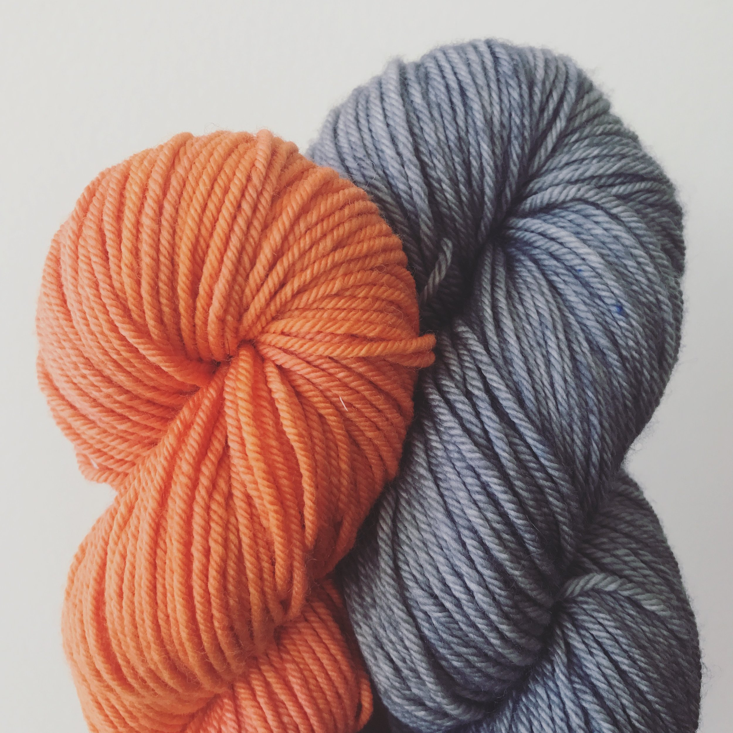 Mrs. Crosby, Steamer Trunk, Spicy Habanero & Why Knot Fibers, Steady, Pewter Image © Firefly Fiber Arts Studio