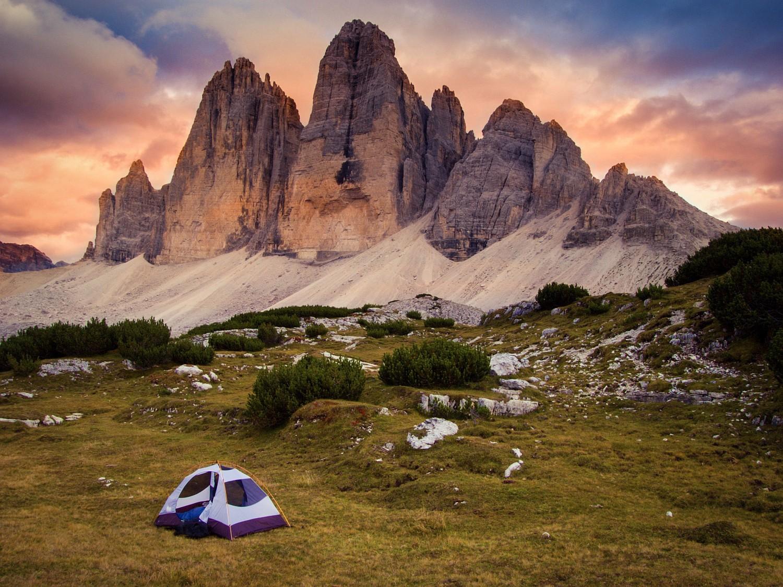 Two shot HDR of Tri Cime di Lavaredo, Dolomites.