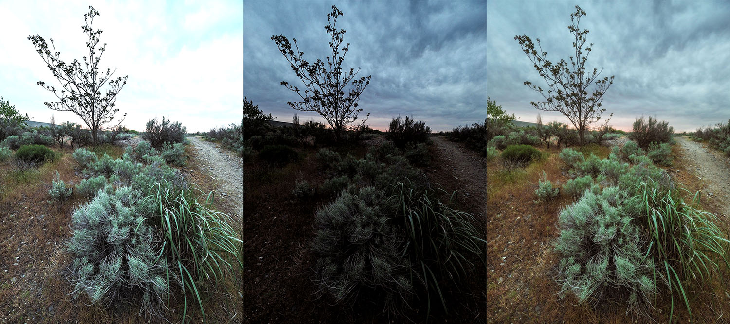 Left – The foreground is exposed correctly.Center – The sky is exposed correctly.Right – HDR composite image created by combining the properly exposed parts of the other two. Which one looks best to you?