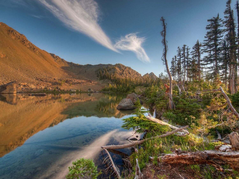 Three shot HDR composite at Lake Ann, Washington Cascades.