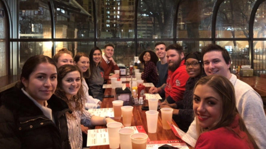 Mentors and mentees at Bonding Over Burgers at Joe's Brewery on February 11th.