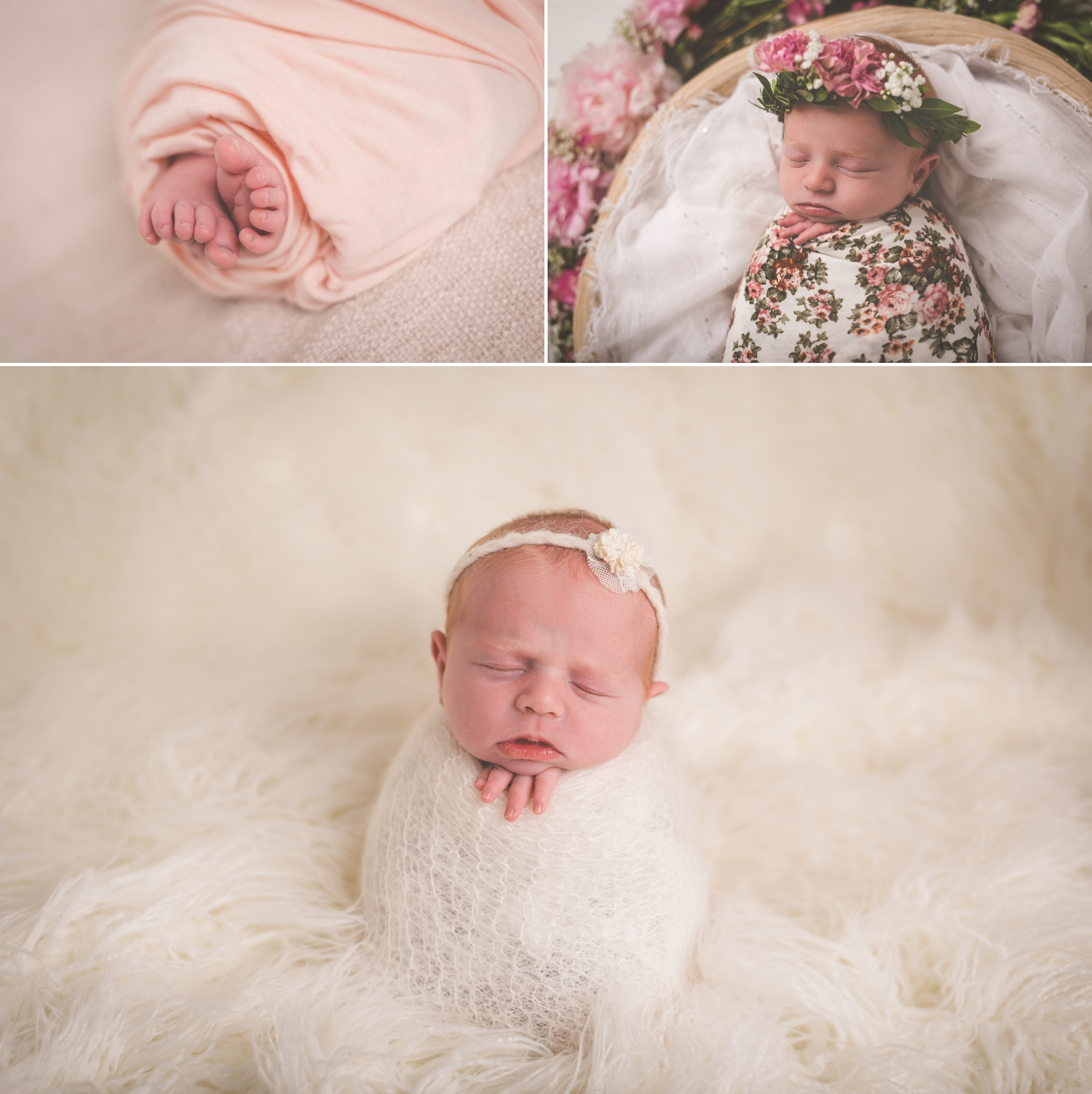 Bright Moon Photography | Newborn baby girl photographer | peonies and floral newborn session