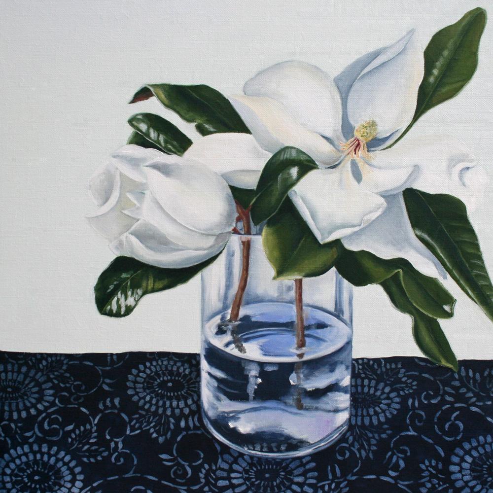 Magnolias with Indigo Cloth