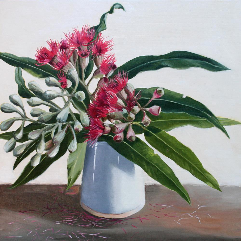 Gum Flower in White Vase