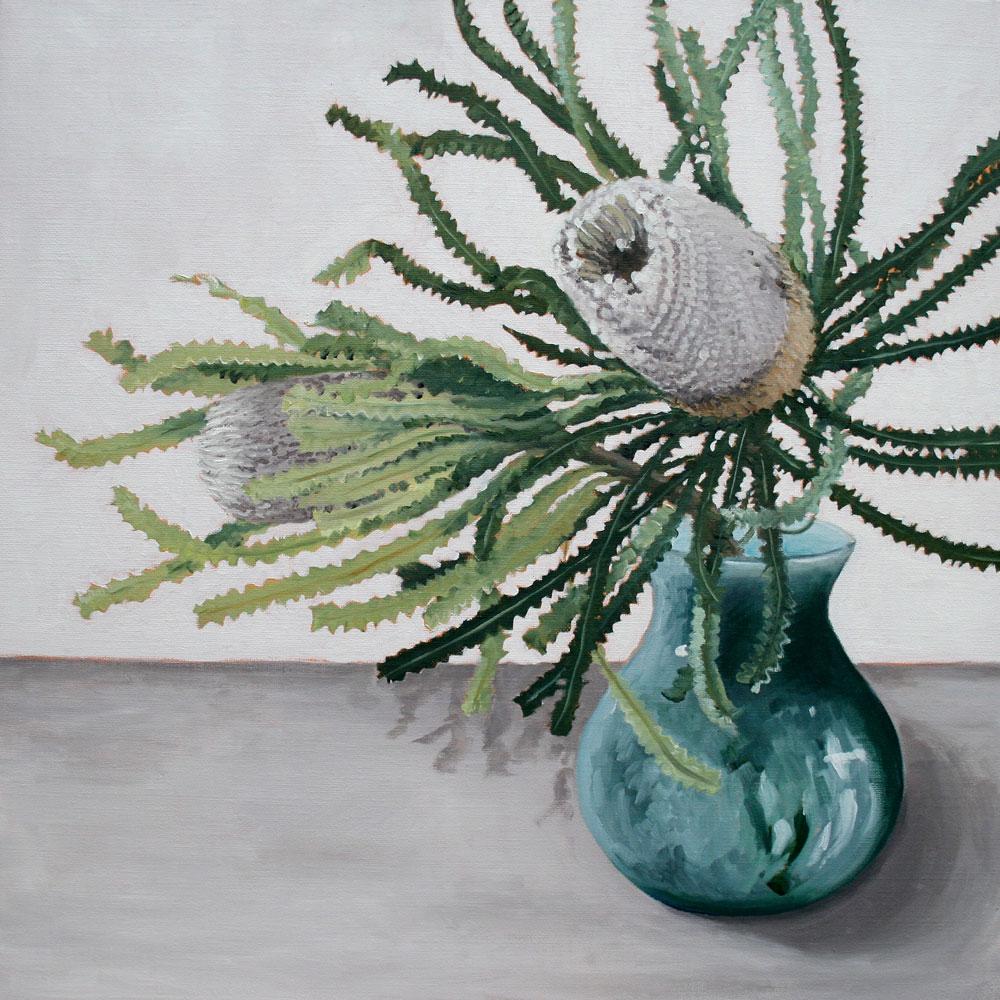 Banksia in Blue Vase - SOLD