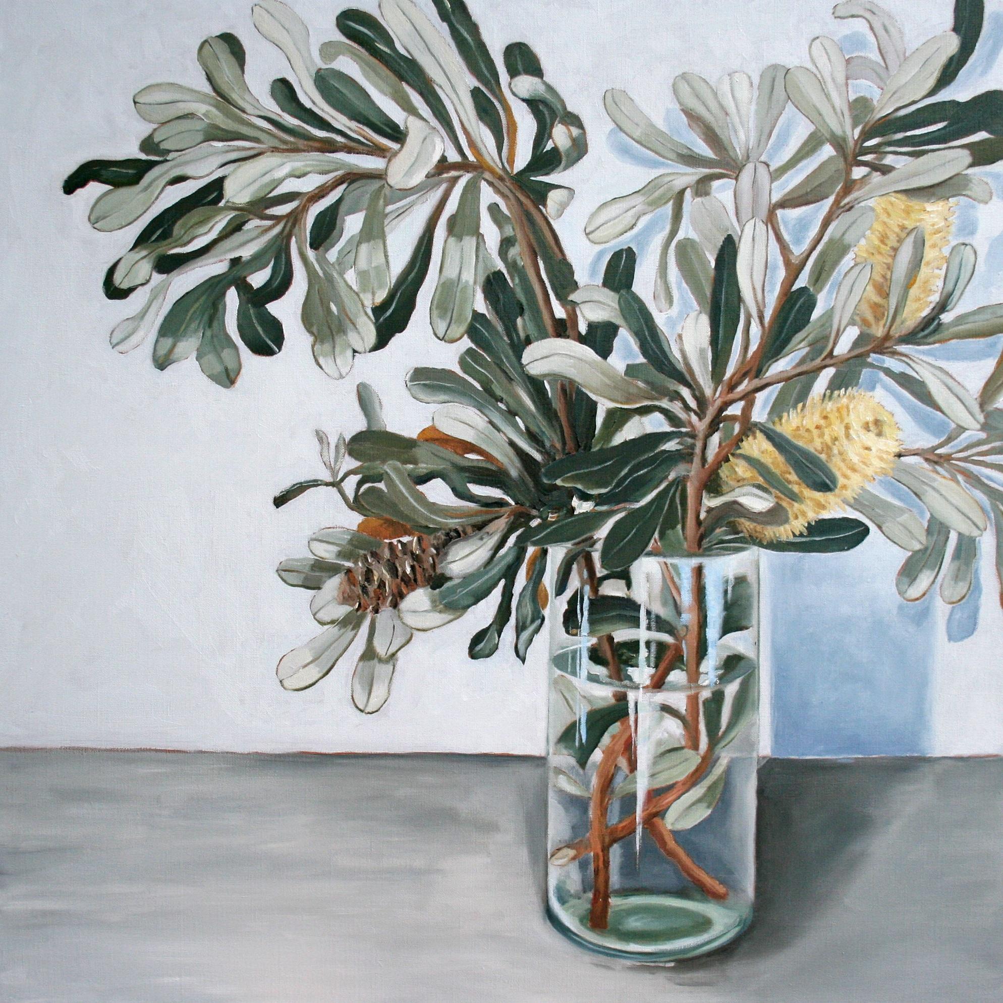 Banksia in Glass Vase - SOLD