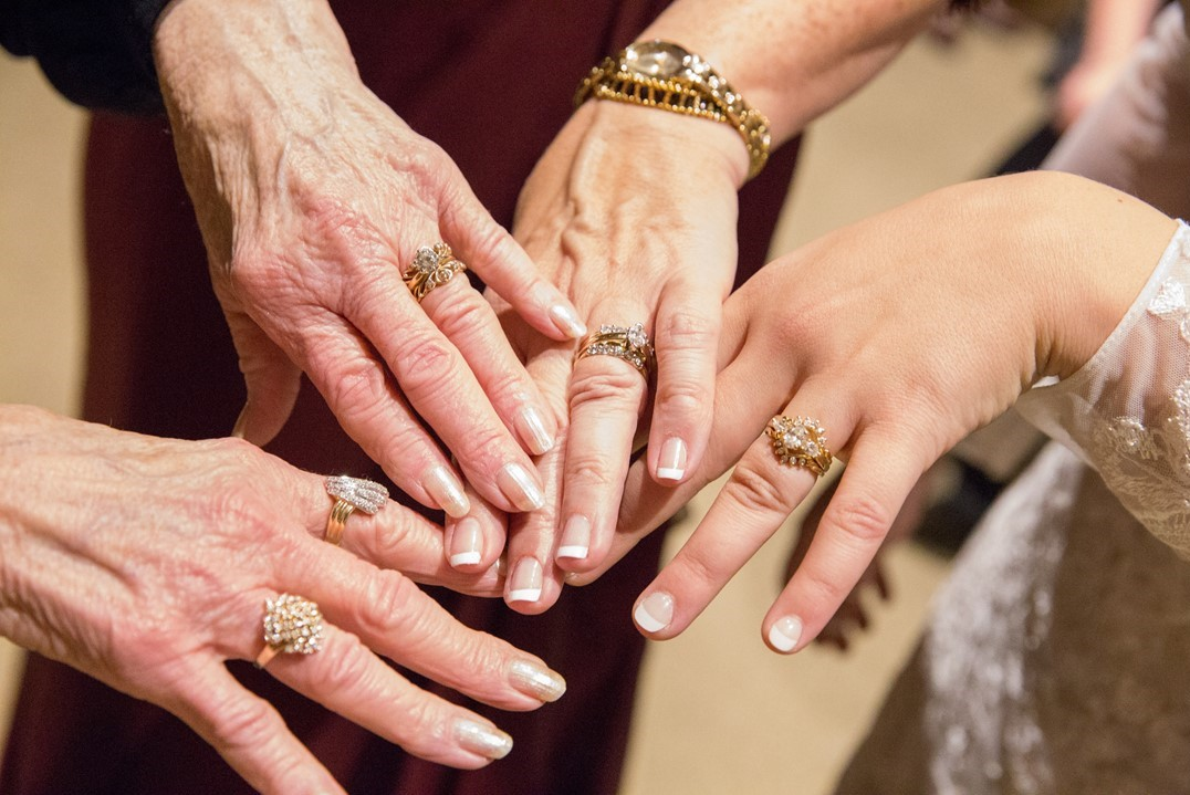 Four generations of the brides family's rings.