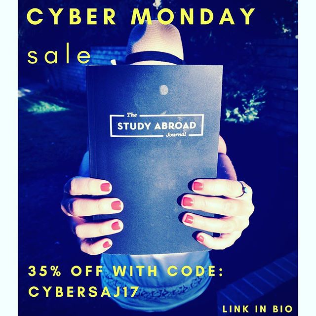 Get your hands on Journals at 35% off - Use code CYBERSAJ17 now through #cybermonday --⠀ Pssst: Makes a great gift for fellow study abroad participants! ;)⠀ --⠀ Get your copy at the link in our bio @theabroadjournal or at www.thestudyabroadjournal.com/shop/journal