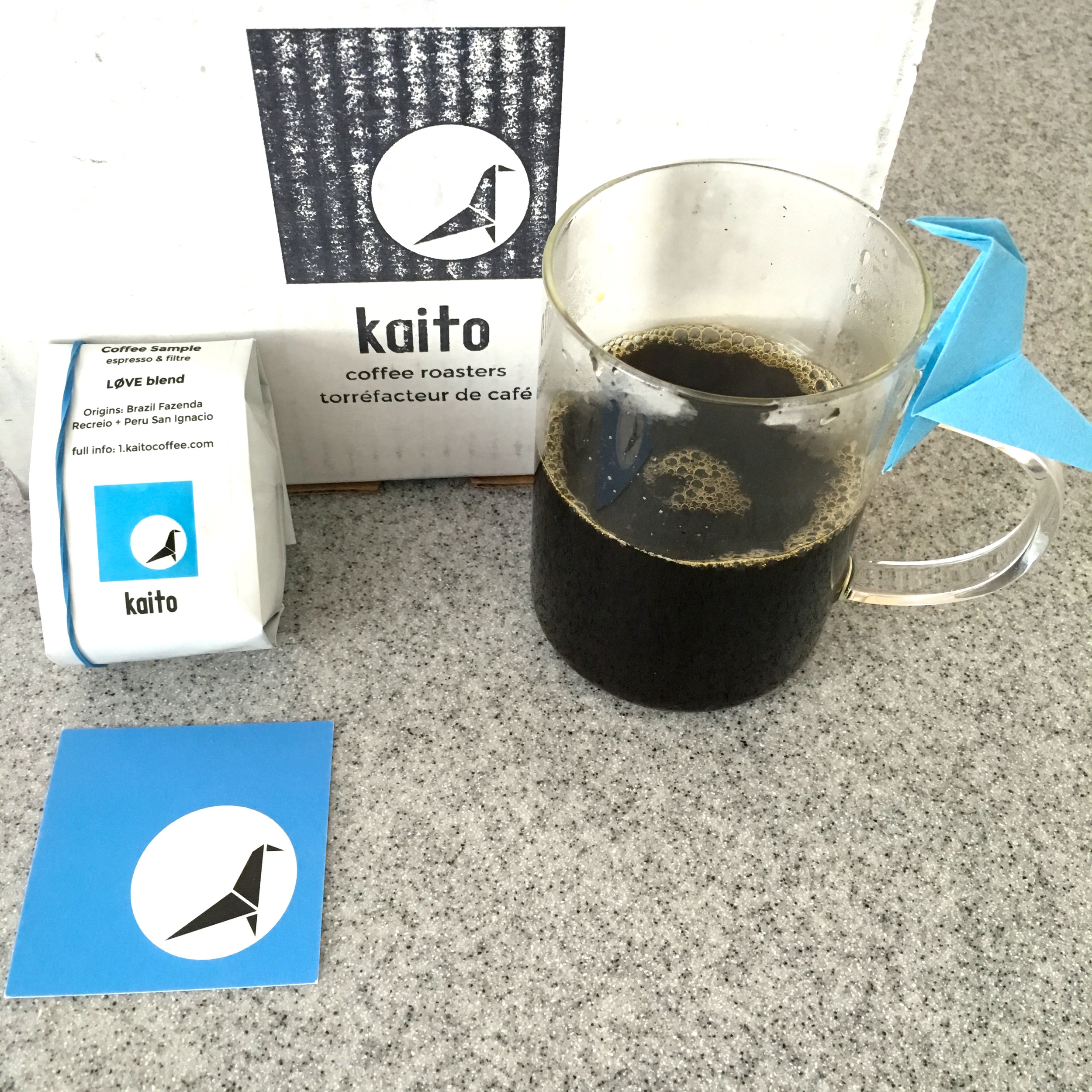 Coffee package from Kaito Coffee