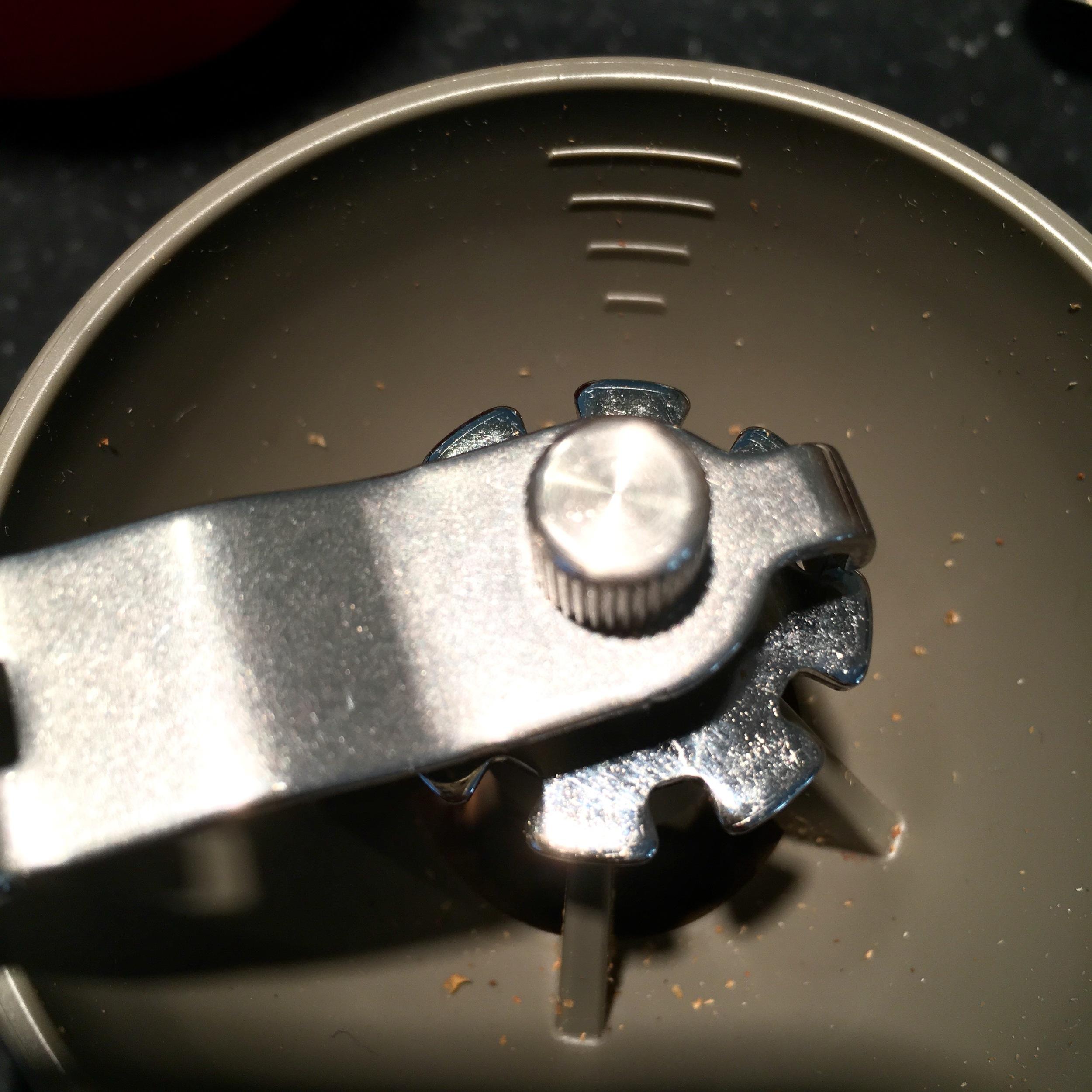 Hopper Tick Marks for Measuring Grams of Beans Loaded