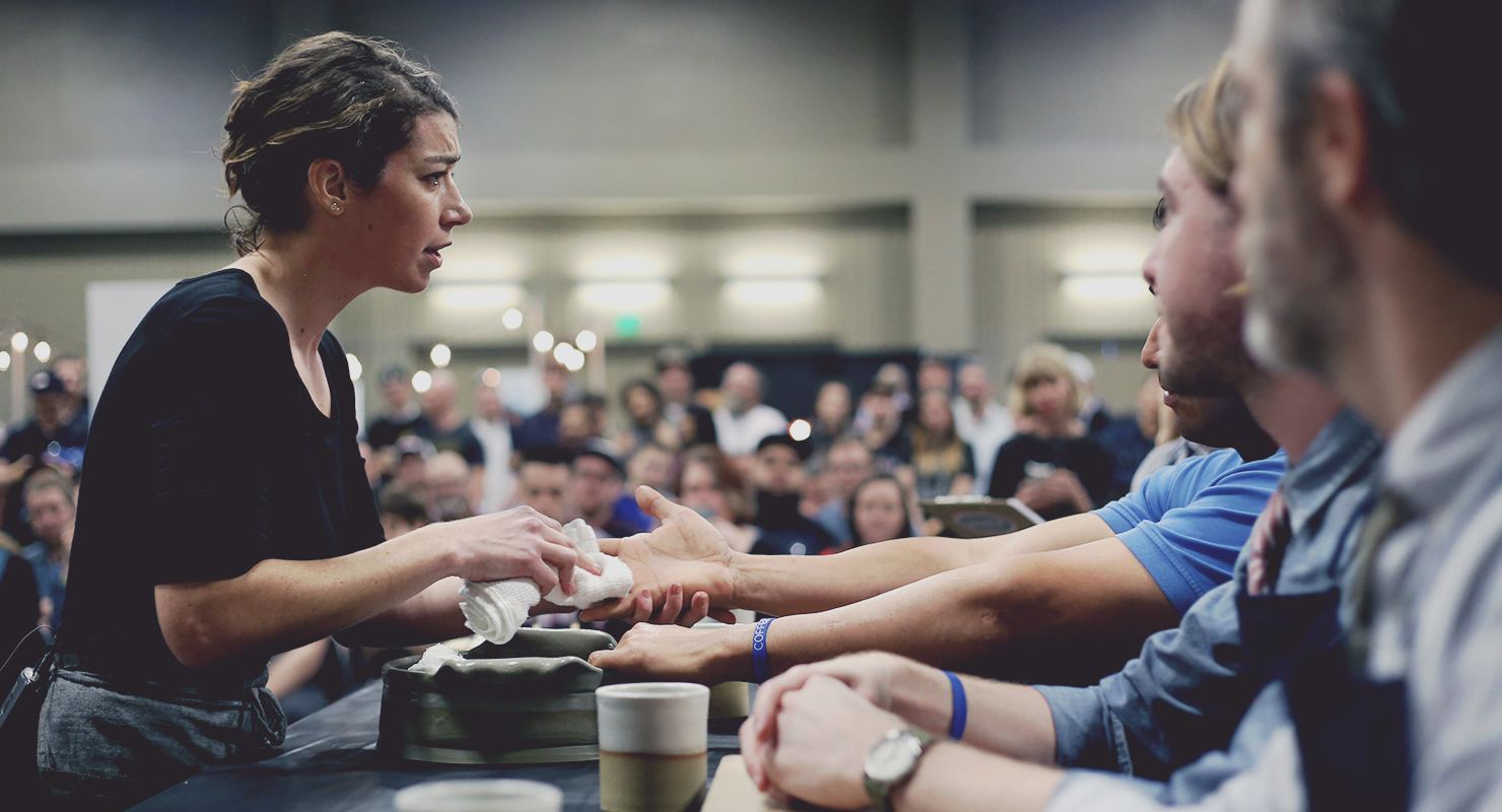 Andrea at the 2017 US Barista Regional Competition (Photo Credits: Sprudge)