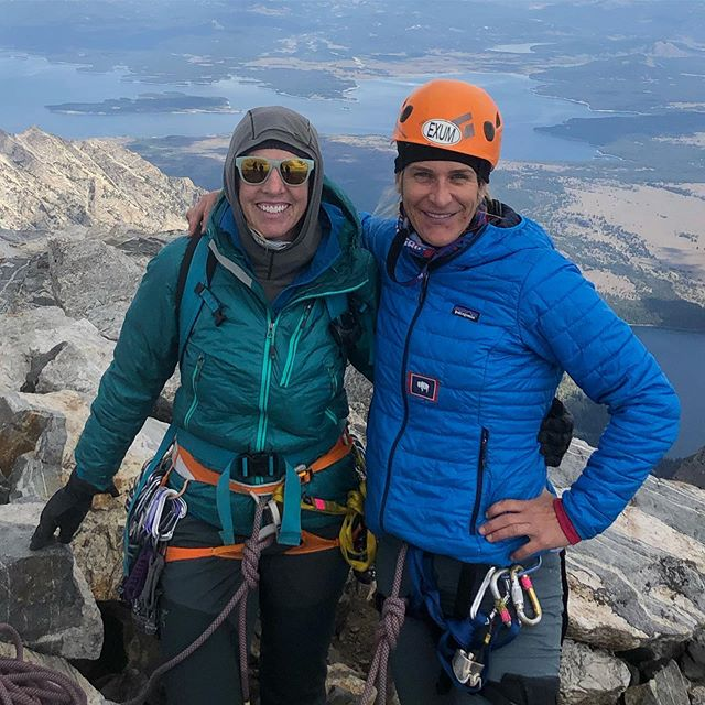 It's been 5 years mentally climbing the Grand Teton and yesterday I finally physically climbed it, 17 hours car to car. It was a spiritual climb for me knowing that the only one who can climb my mountain is myself.  So, I purposely decided to climb it solo with a private guide, the amazing, talented, and loving @skidiva of @exumguides whom I have so much respect and gratitude for.  But also with me was my soul sister.  Climb on…. . . . #GrandTeton #owenspalding #GrandTetonNatationalPark #gtnp #Tetons #Jacksonhole #Lifeinthemoutains. #Getoutside #Alpine #Climbing #Exumguides #Summit #Summer #Climbing #Climbon #Sheadventures #SheJumps #girlpower #soulsister