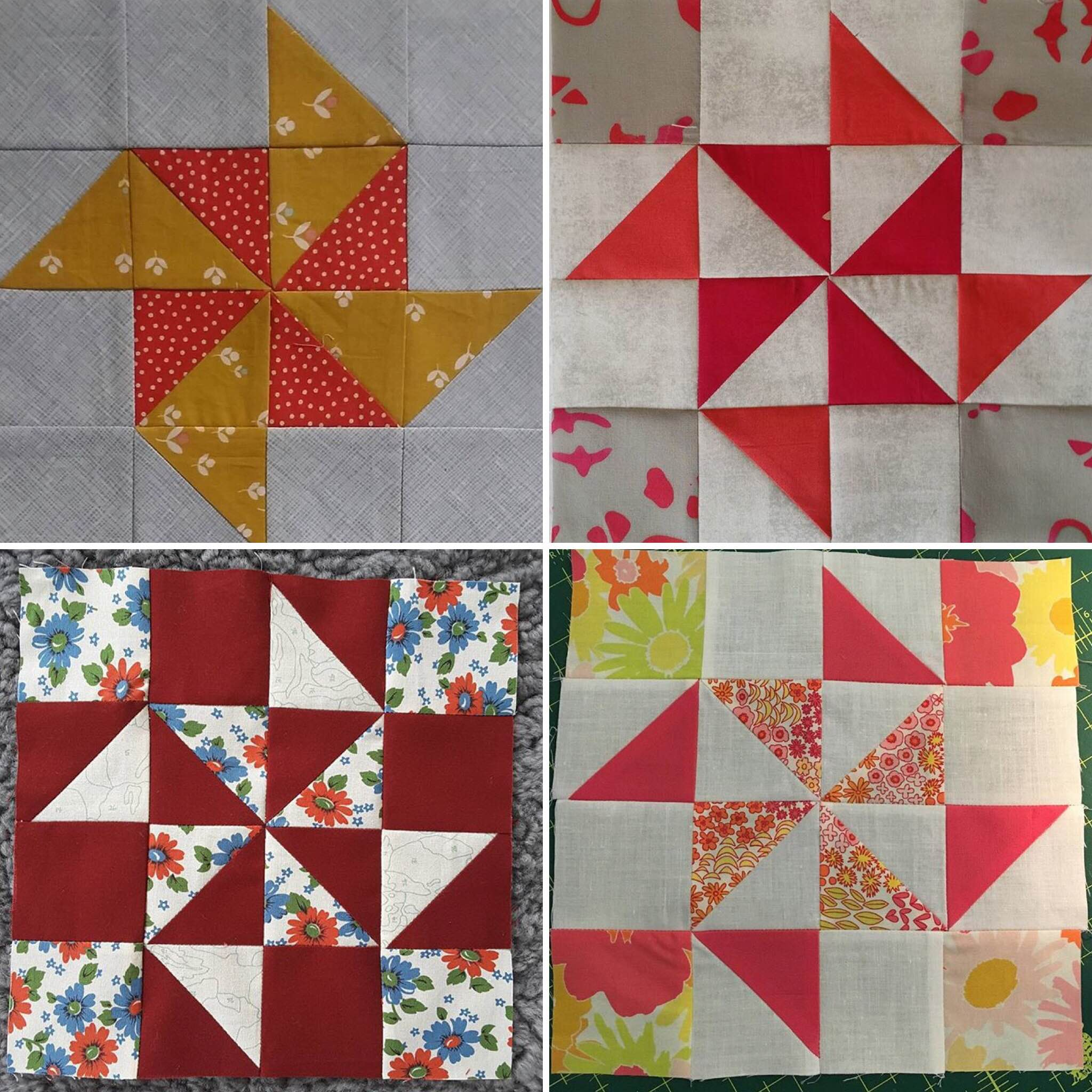 Again, further examples of how a block can alter in style depending on the fabrics and colours chosen by participants. Clockwise from top left are: @handmaderetro, @iamkatotron, @sharingthegoodstuff, and @quiltpony.