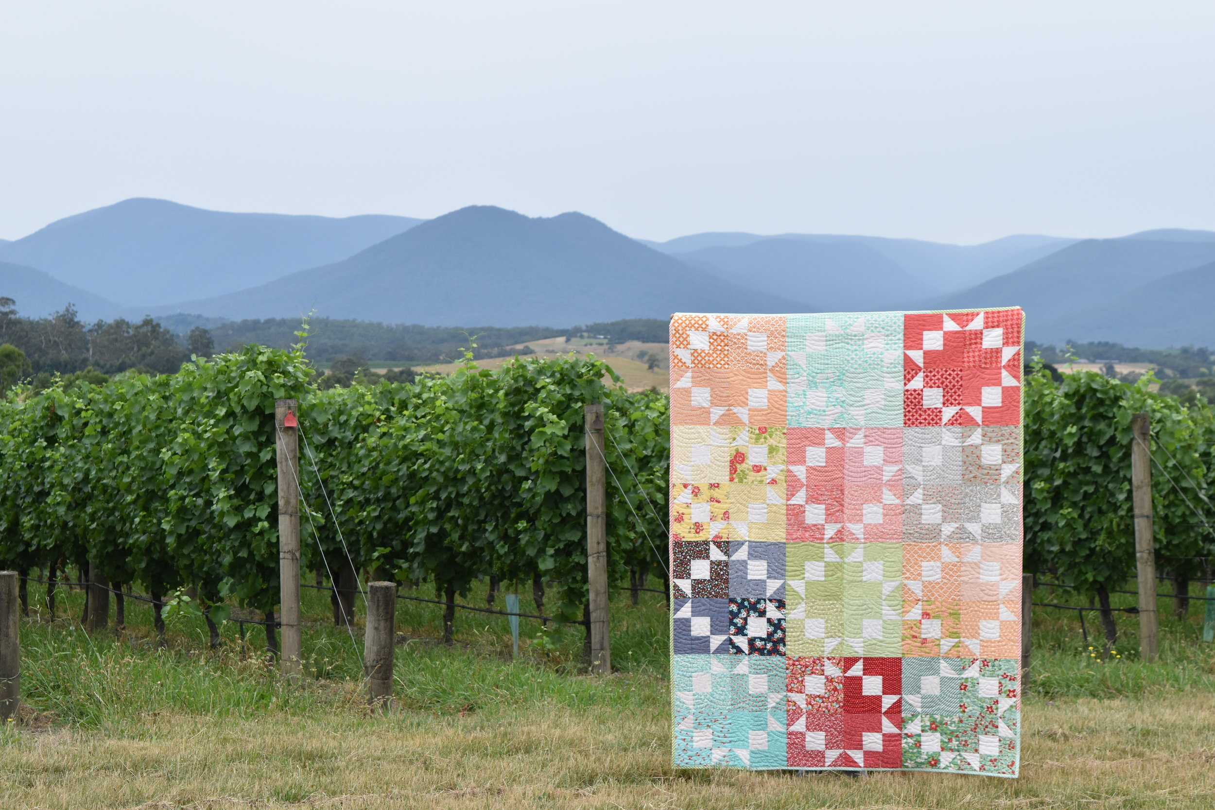 A quilt called Glow, photographed at the beautiful property of Chandon, in the Yarra Valley Australia
