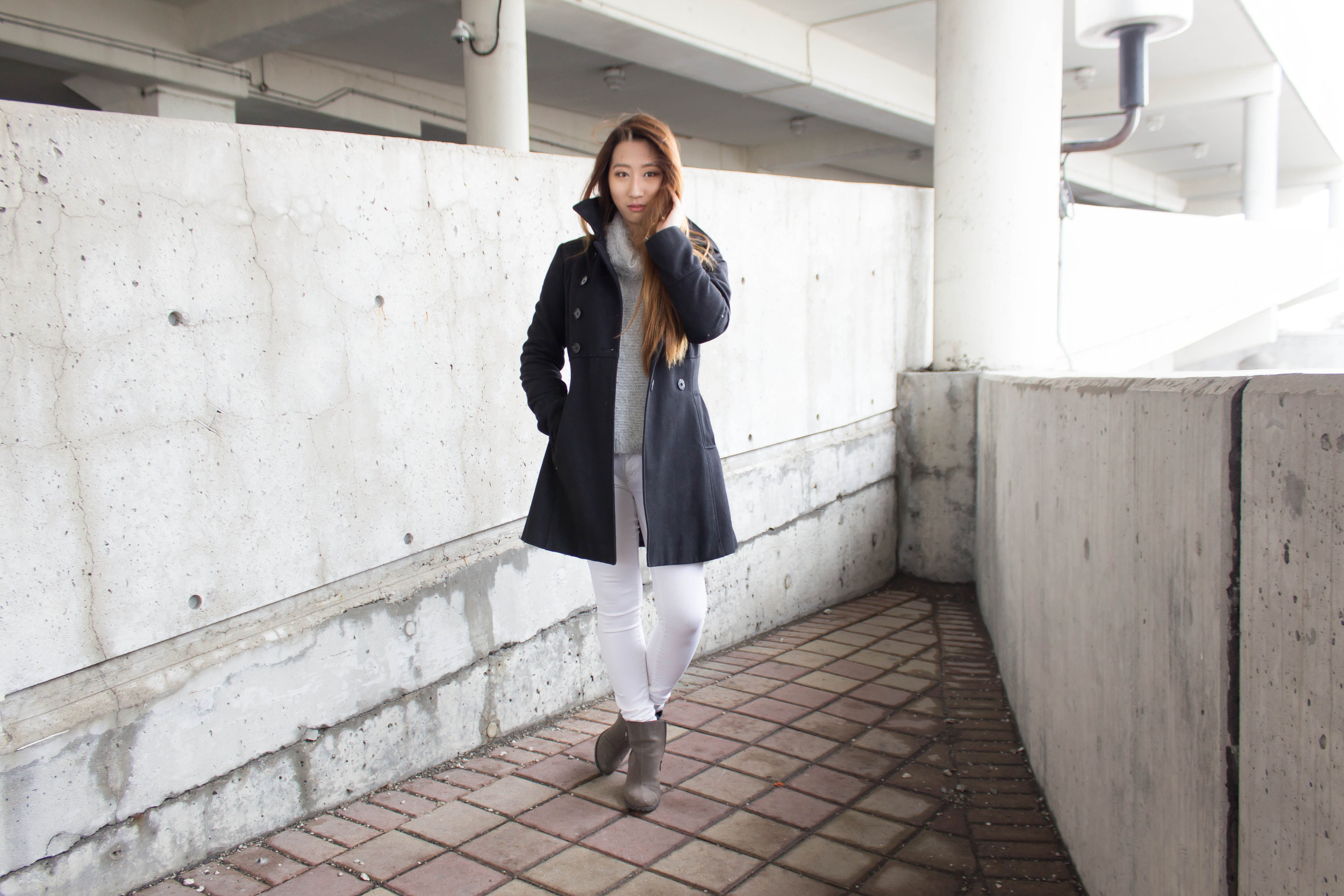 MonicaxGuan Fluffy grey sweater white jean peacoat-2.jpg