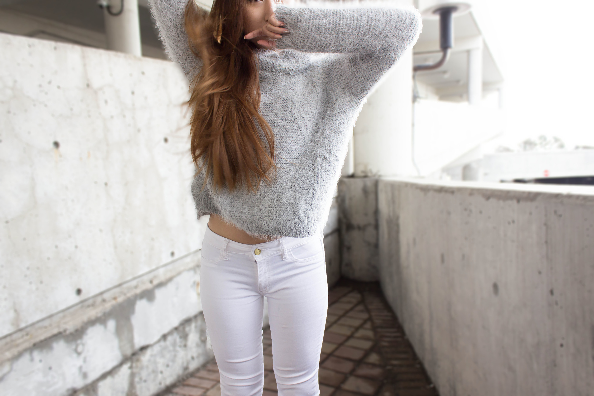 MonicaxGuan Fluffy grey sweater white jean peacoat-3.jpg