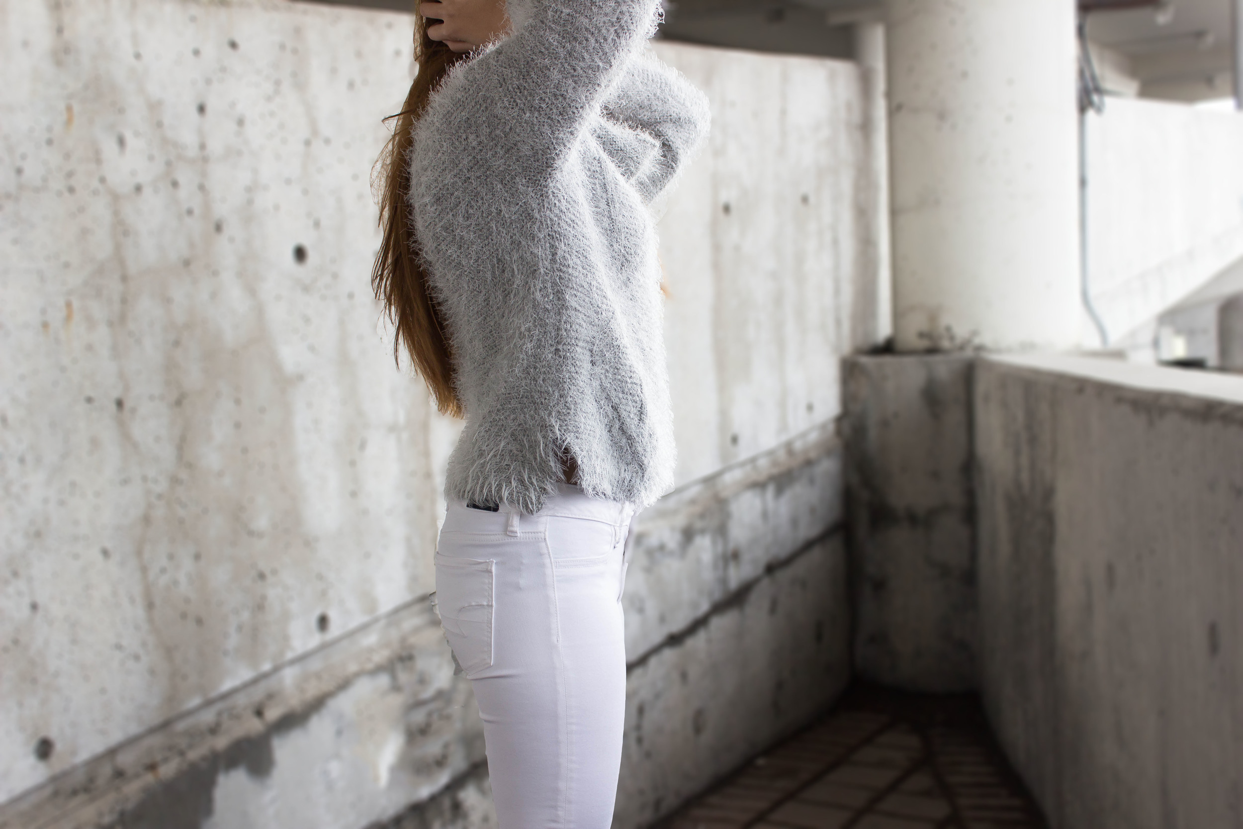 MonicaxGuan Fluffy grey sweater white jean peacoat-5.jpg