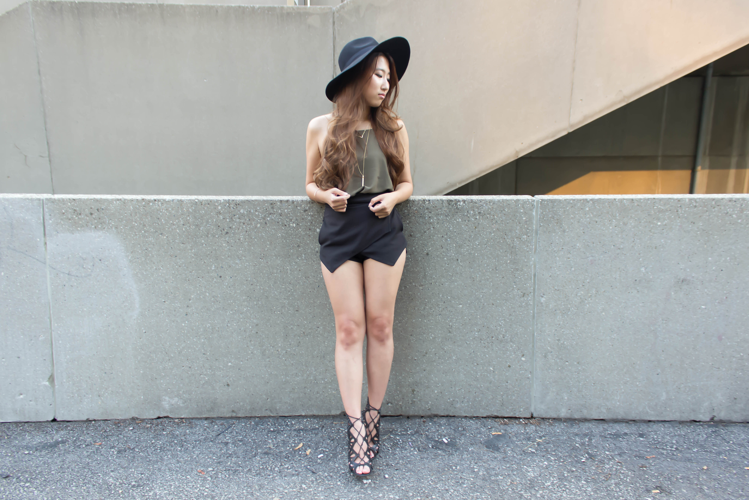 Olive top and asymmetrical shorts-2.jpg