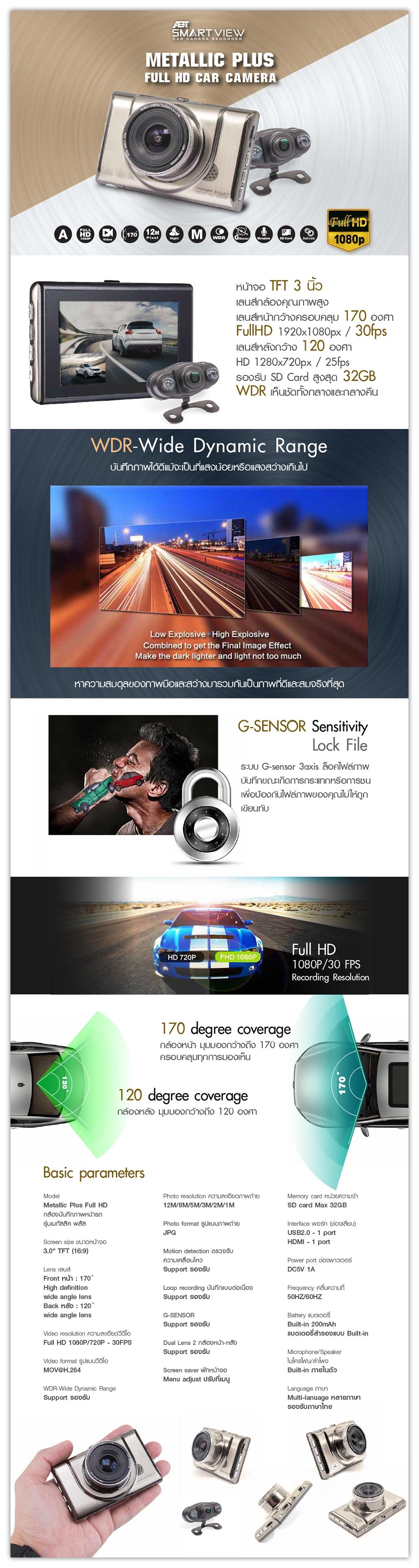 กล้องบันทึกภาพหน้ารถ, กล้องติดรถ, fullhd, ABT SMART VIEW