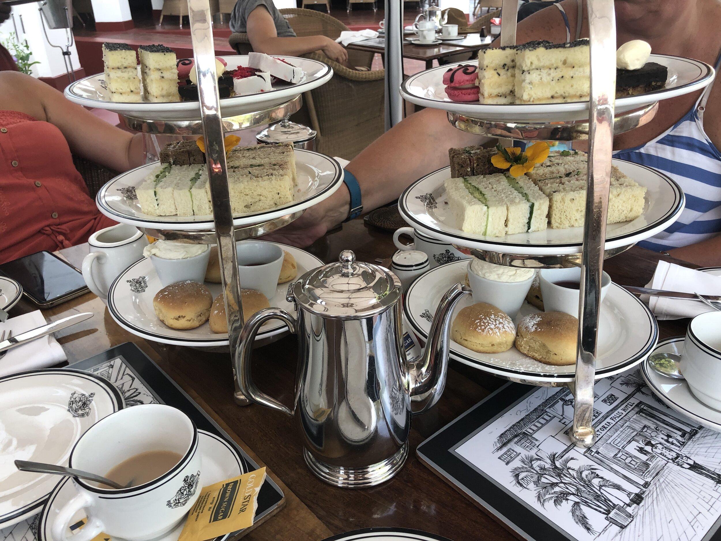 High tea at Victoria Falls Hotel, Zimbabwe side