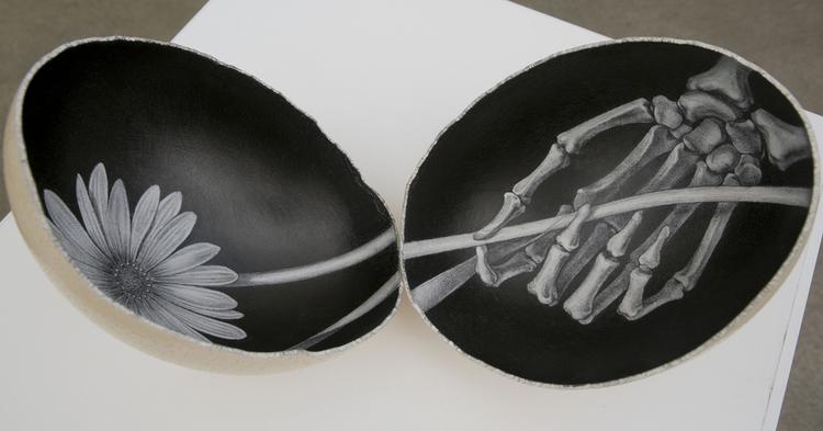 Graphite on ostrich eggshell