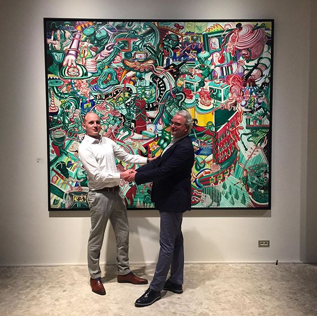 Bert and Arne in front of a beautiful Fred Bervoets painting. #throwback to our Founders Dinner at @tapta_antwerp & @mauriceverbaetcenter