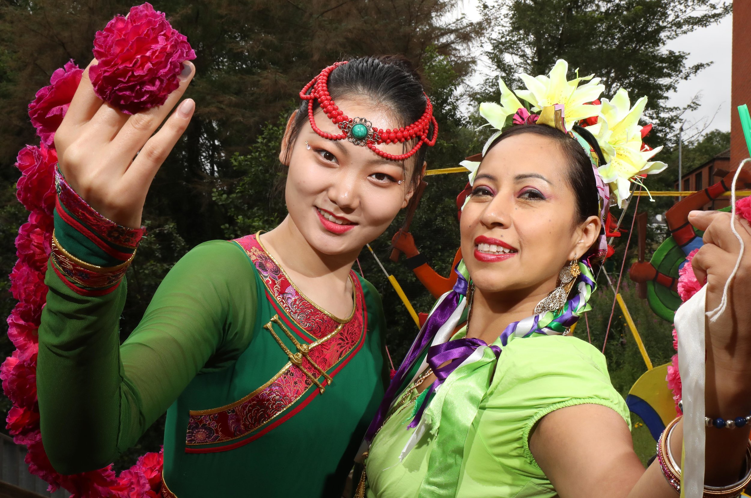 Pictured at the launch of the Belfast Mela 2019 at The Lyric Theatre in Belfast is Chinese Dancer (left) Kancy Guan and Mexican dancer (right) Mayte Segura as the countdown to the festival begins.(©Press Eye/Darren Kidd)