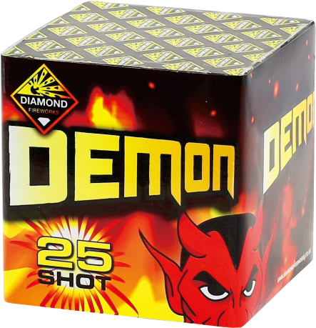 DEMON 25 SHOT - RRP £20.00 - UNLEASH DEMONS INTO THE NIGHT WITH THIS FANTASTIC LITTLE BARRAGE! CONTAINS A RANGE OF COLOURED EFFECTS INCLUDING PEONY, COCONUT CRACKLING AND STROBES.