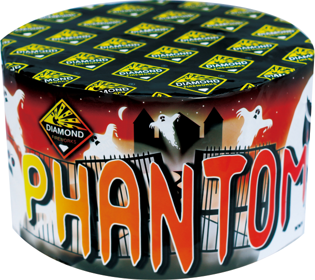 PHANTOM 77 SHOTS - RRP £75.00 - THE PHANTOM IS THE PERFECT FAMILY FIREWORK, A BARRAGE THAT WILL LEAVE YOU WITH NO ILLUSION AS EACH SHOT DANCES ACROSS THE NIGHT SKY STAGE. PACKED FULL OF CRACKLING COMETS, COLOUR PEONY, WHISTLES AND BANGS.